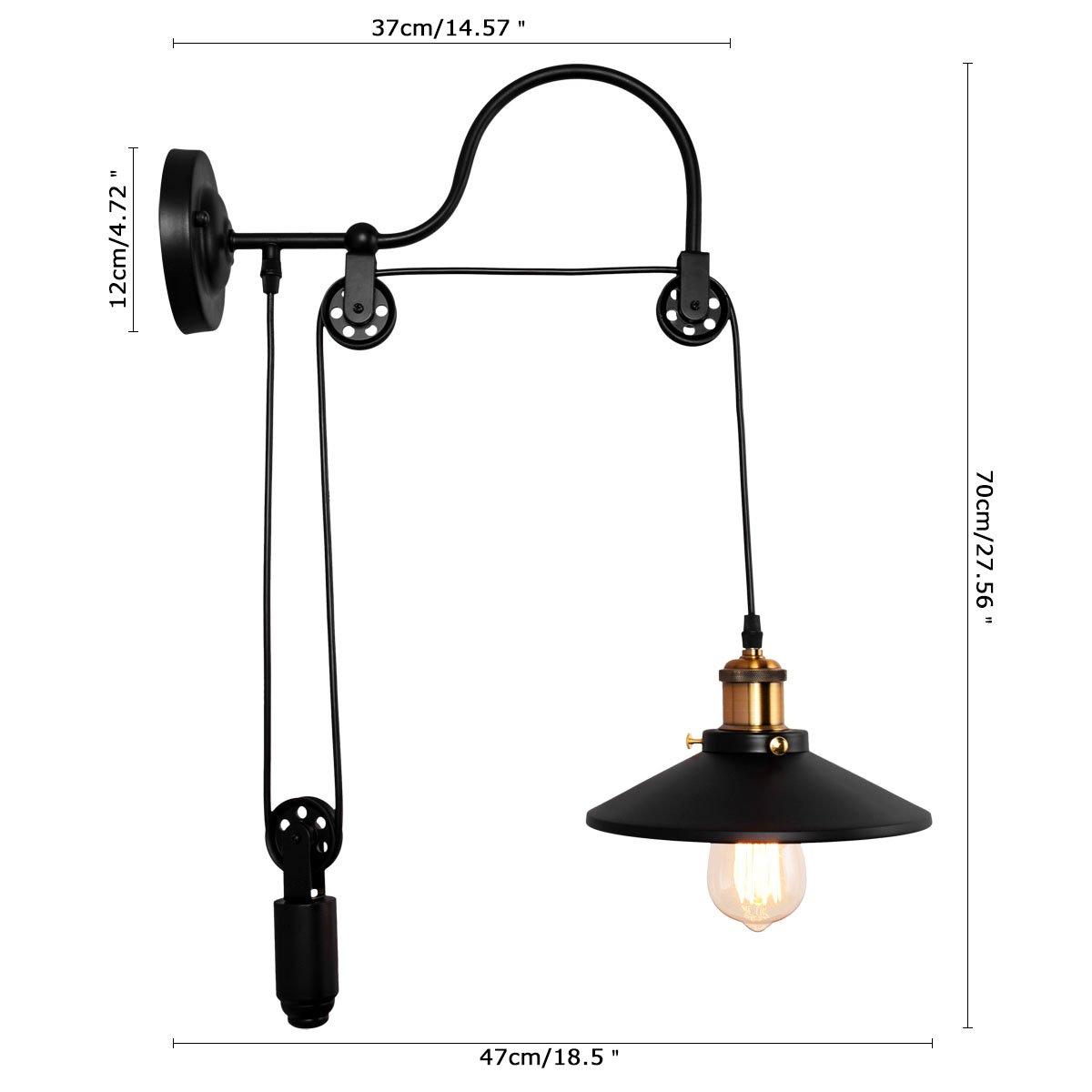 Lingkai industrial wall sconces adjustable 1 light gooseneck wall light pulley wall mounted wheel wall lamp