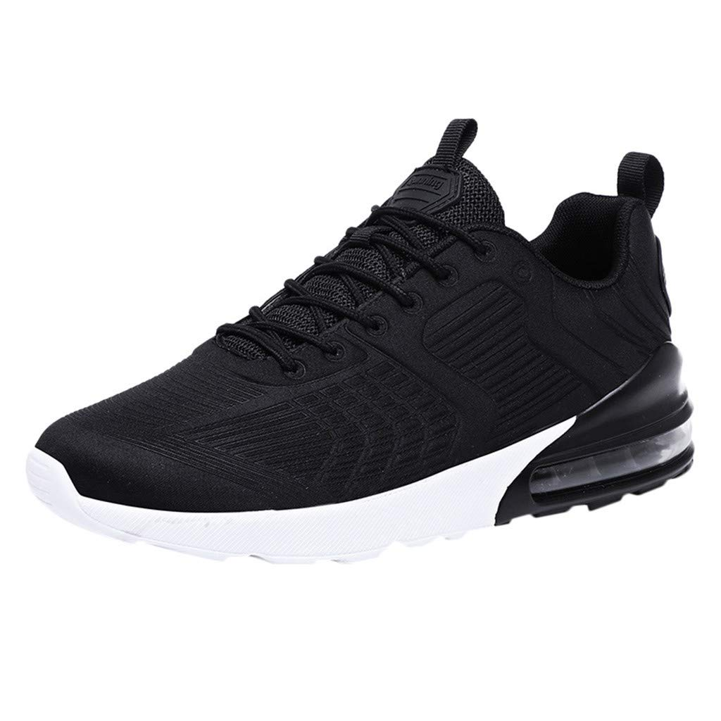 Men's Woven Breathable Air Cushion Sneakers Outdoor Ultra Light Casual Running Shoes (⭐️-Black, 10-Men-US)