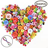 #10: Outuxed Colorful Round Resin Buttons Craft Sewing Buttons Assorted Colors and Sizes for Clothing Accessories or Kids DIY (About 800pcs)