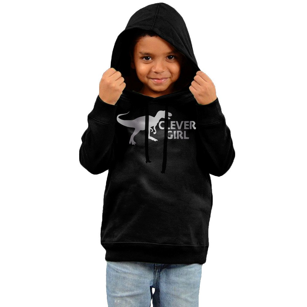 Little Boys Girls Clever Girl W Velociraptor Platinum Style Hoodie Black