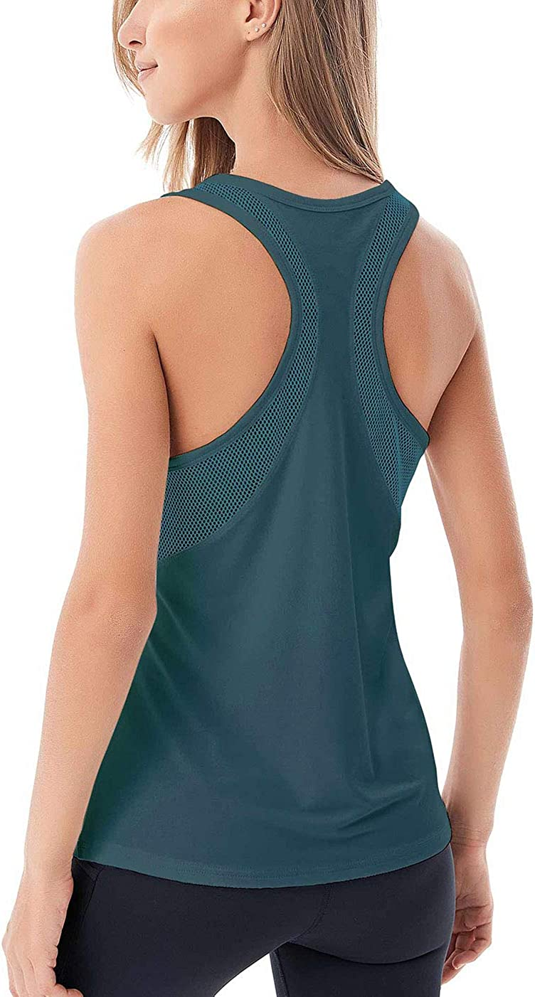 Fihapyli Womens Yoga Tops Open Back Mesh Breathable Workout Tops for Womens Pilates Tops Racerback Running Tank Tops