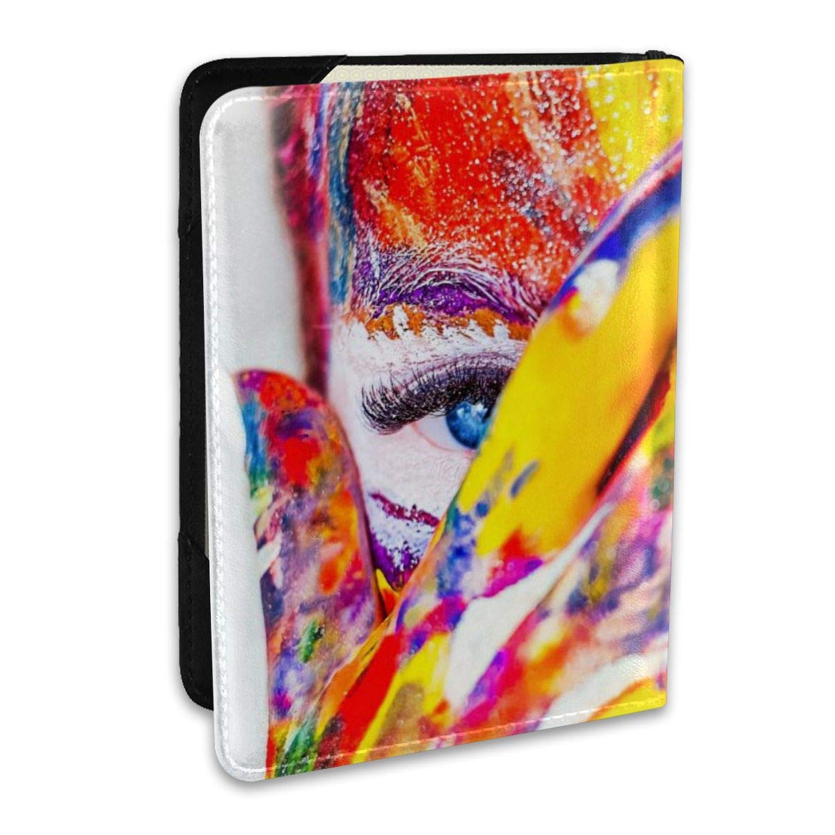 Paint Makeup Crazy Girl Fashion Leather Passport Holder Cover Case Travel Wallet 6.5 In