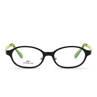 Kinder Rechteck Brillen Optisch TR Rahmen Mädchen Jungen Nicht Verschreibung Klar Linse(Glänzend Schwarz/Klar) ICCKS