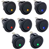 Twidec/8Pcs 20A 12V DC On/Off SPST Round Dot Rocker Toggle Switch Control for Car Or Boat with Red Blue Green Yellow(4 Color) LED Light KCD2-102N-4C