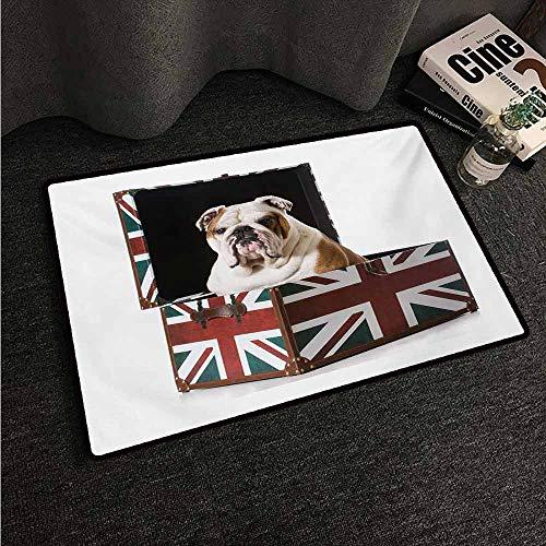 (HCCJLCKS Fashion Door mat English Bulldog Cute Bulldog Sitting in Union Jack Britain Themed Box Patriotic Design Country Home Decor W35 xL47 Multicolor)