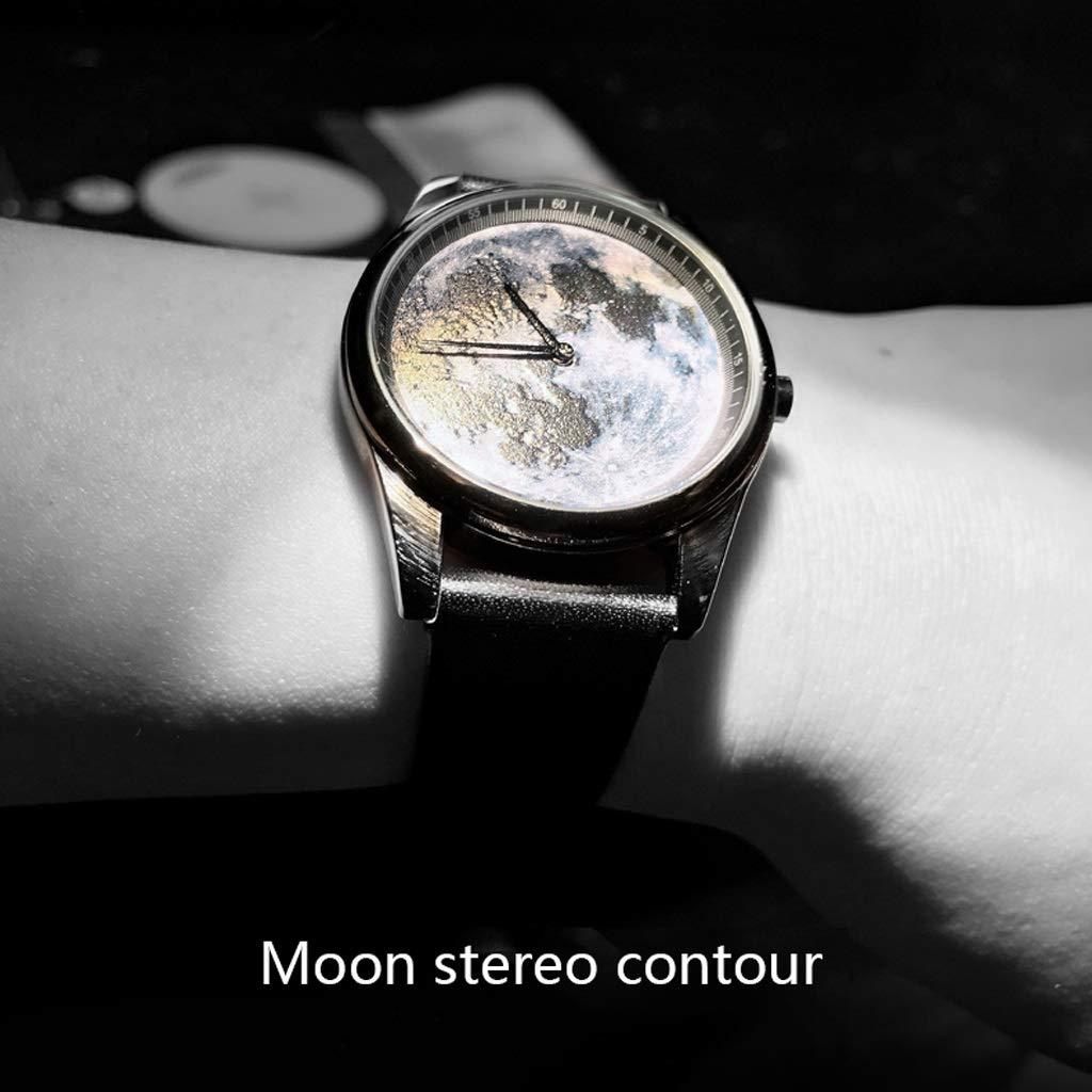 LZ enkel måne präglad klocka för män, kvinnor, minimalistisk business svarta klockor med milanesisk, läderband, cool designklocka (färg: vit) Vitt