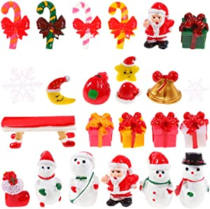 Toyvian 23pcs Christmas Miniature Ornaments Resin Mini Santa Claus Figures Snowman Figurines for Christmas Decorations Dollhouse Fairy Garden Micro Landscape Decor