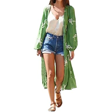 1e4435b8df0 Sixcup Women Puff Long Sleeve Floral Long Maxi Chiffon Kimono Cardigan Dress  with Belt More Wearing Ways  Amazon.co.uk  Clothing