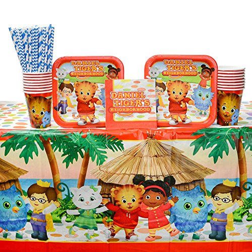 (Daniel Tiger's Neighborhood Party Supplies Pack for 16 Guests: Straws, Dessert Plates, Beverage Napkins, Table Cover, and)