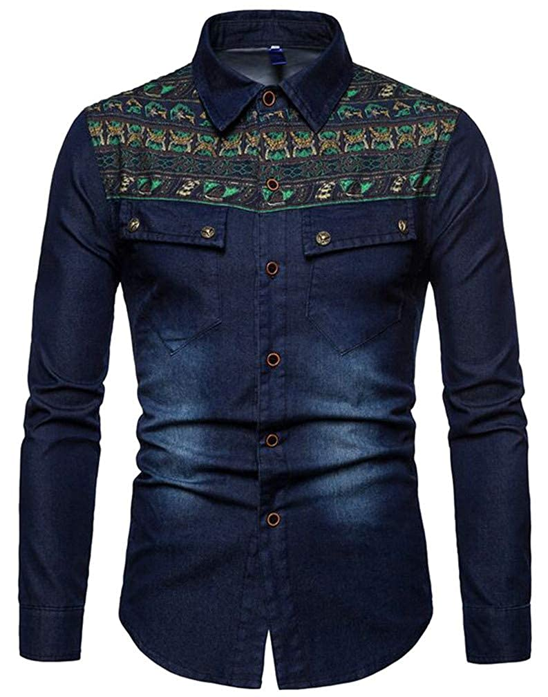 Cromoncent Men Slim Fit Lapel Neck Denim Distressed Embroidery Button Down Shirts