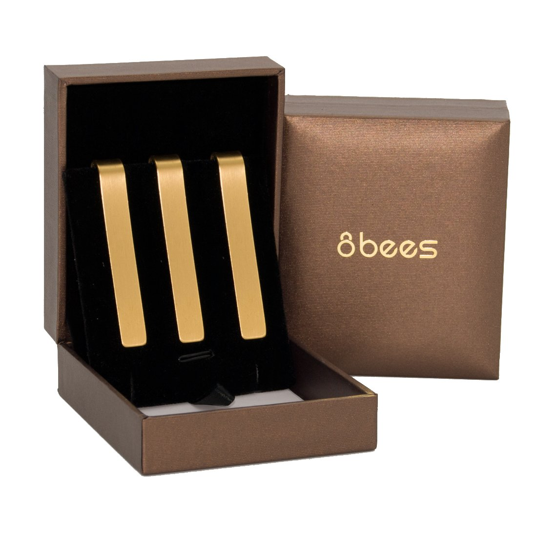 8Bees Lot de 3 pinces à cravate métalliques 5, 3 cm pour homme Baymore 34308