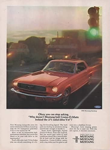 Amazon com: Magazine Print Ad: Red 1966 Ford Mustang Hardtop, Cruise
