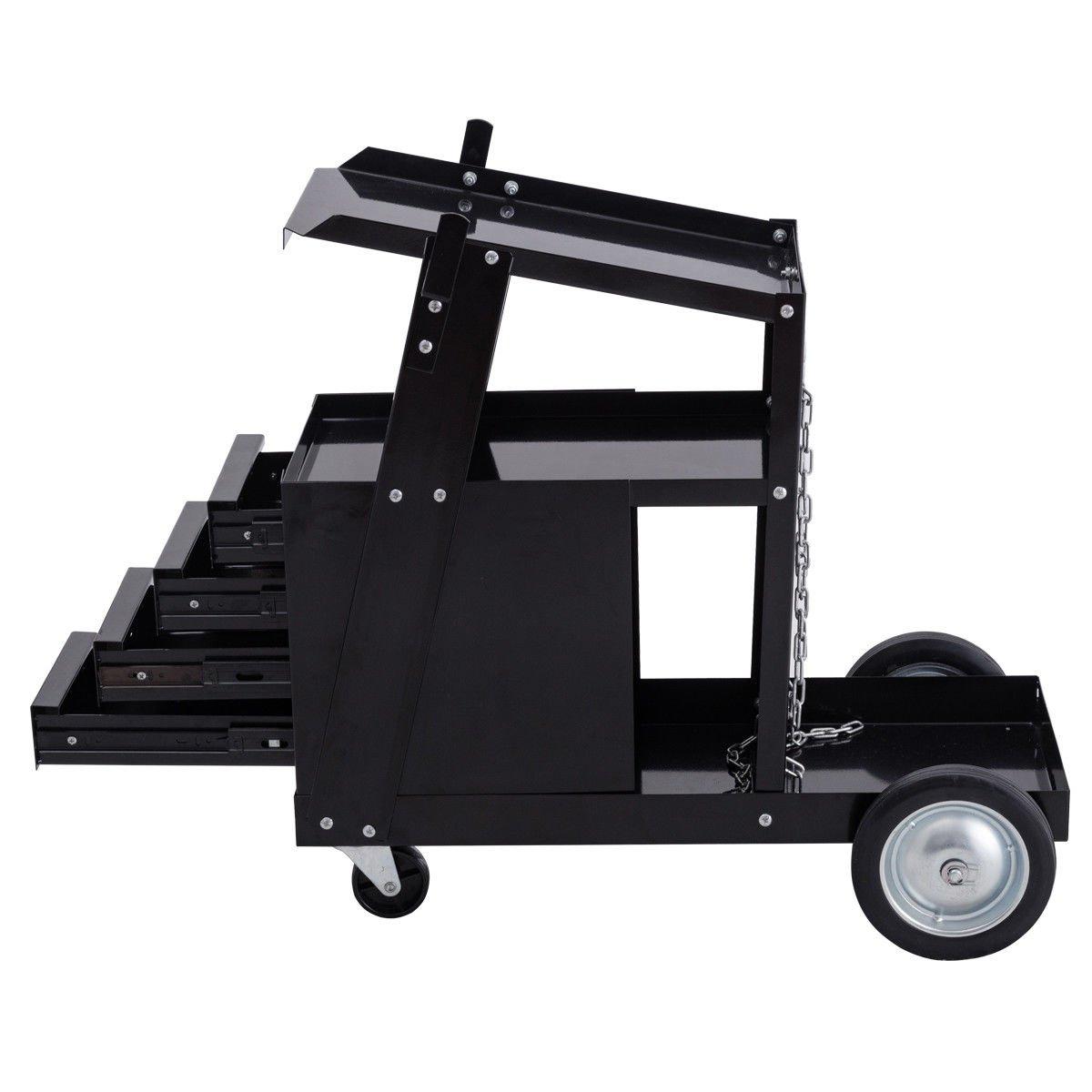 Goplus Welding Welder Cart Trolley Heavy Duty Workshop Organizer For Mig Parts Diagram Bill39s Repair Welders Tig Arc Plasma Cutter W 4 Drawer Cabinet
