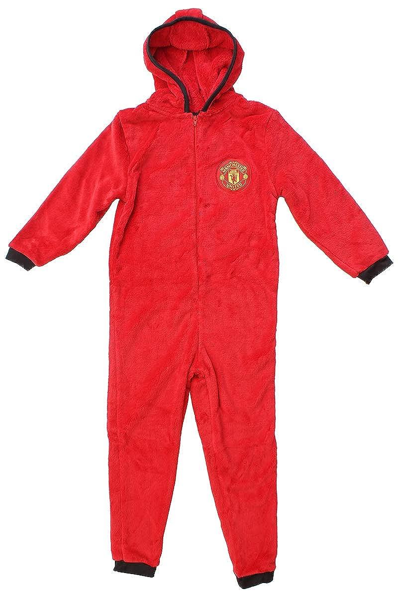 Boys Official Manchester Utd Zipper Fleece Hooded Sleepsuit Romper Onesie Sizes from 3 to 12 Years