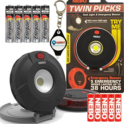 Bundle: Nebo Twin Pucks LED Task Light And Emergency Beacon 6391 with 5x Extra Energizer AAA Batteries and LightJunction Keychain Light (Away Lantern Powered Battery Pack)