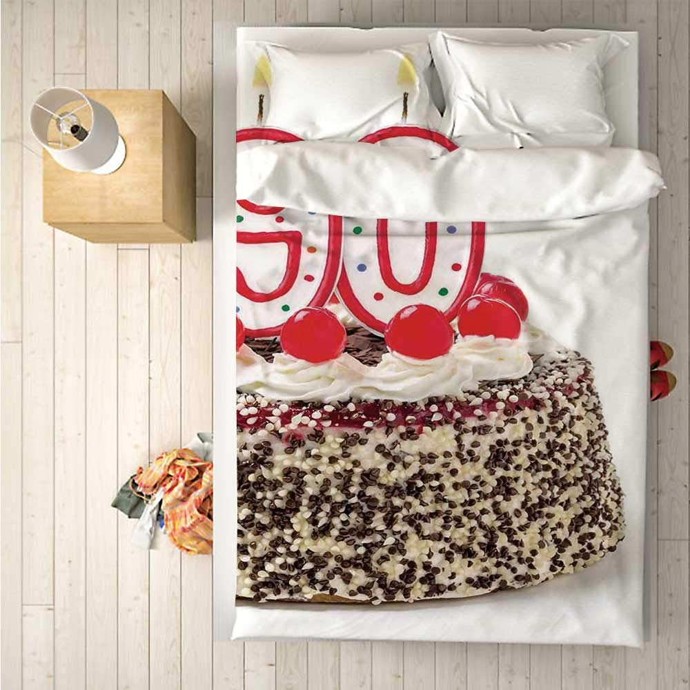 90th Birthday Decorations Comfortable 4 Piece Bedding Set,Birthday Cake with Cherries Burning Candles Number Ninety for Hotel,One Side Print : Double