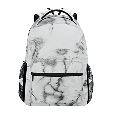 a67cc83291f Image Unavailable. Image not available for. Color: Casual School Backpack  White Marble Texture Pattern Lightweight Travel Daypack College Shoulder Bag  ...