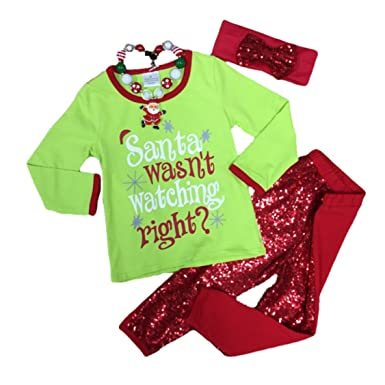 6ac41831fa0fe5 Cute Kids Clothing Baby Girl Christmas Outfit I'm On The Nice List Toddler  Girl