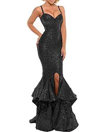 Luccatown Womens Sweetheart Solid Sleeveless Long Gown Dress, Black, ...