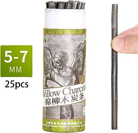 Bastones de carbón, lápices de carbón de sauce de algodón para dibujar, paquete de 25 (5-7 mm de diámetro): Amazon.es: Juguetes y juegos