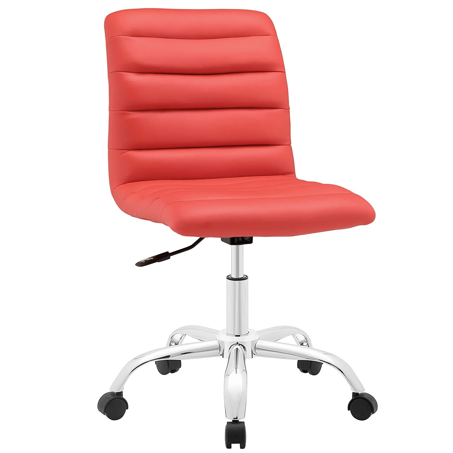 Modway Ripple Ribbed Armless Mid Back Swivel Computer Desk Office Chair In Red