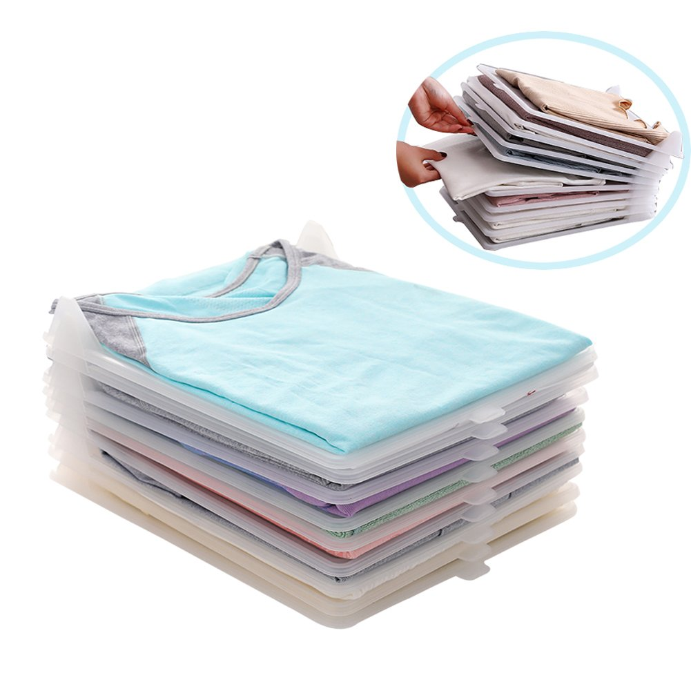 T-MIX Armario Organizador Ropa, Ropa/Camiseta Carpeta de Ropa Interior, Large Tray 10-Pack