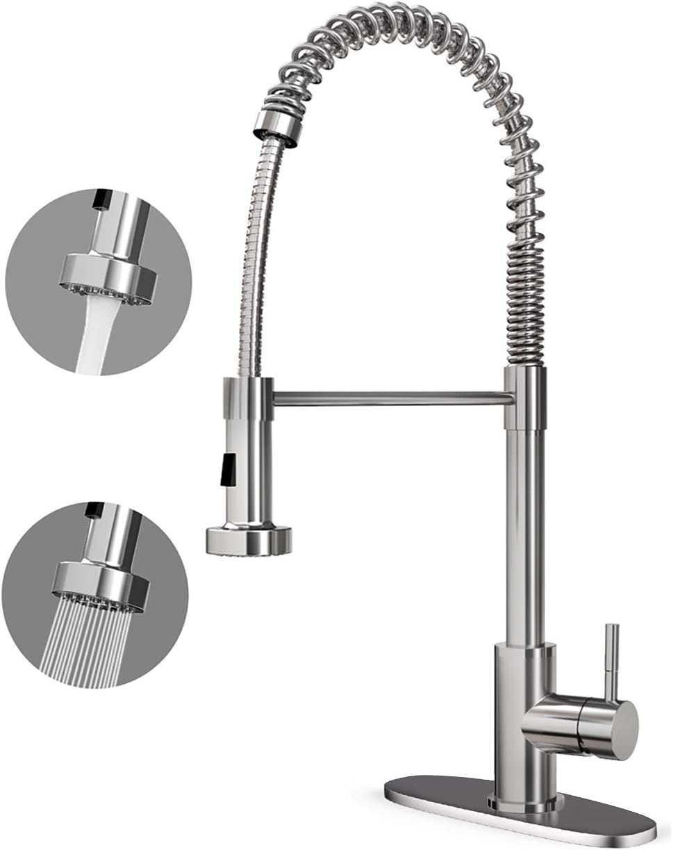 CORYSEL Kitchen Faucet Single Handle High Arc Brushed Nickel Single Lever Pull Down Sprayer Spring Kitchen Sink Faucet, Kitchen Sink Faucet with Deck Plate 2001C