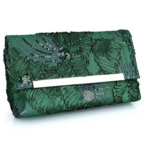 Floral Bag Clutch YYW pour green Pochette femme dwag5gxqE
