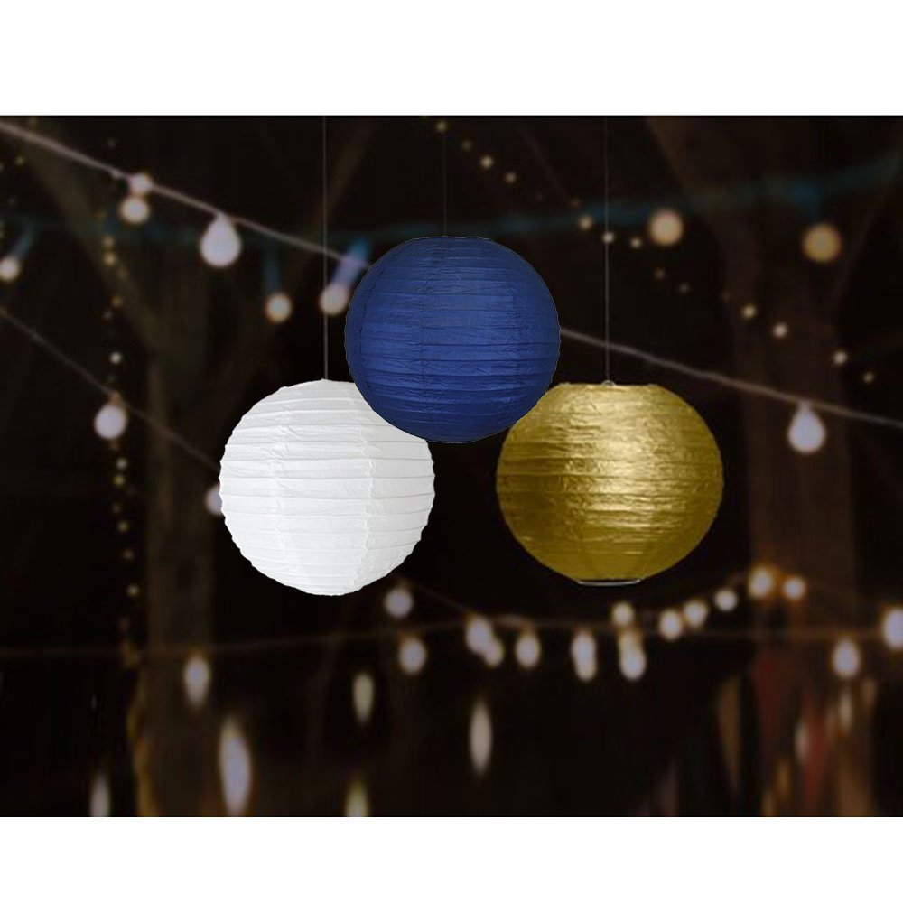 Navy Blue Gold Birthday Party Decorations Blue Happy Birthday Bunting Banner Blue Gold Paper Circle Garland Paper Flowers Tissue Paper Pom Poms Paper Lanterns for Boys First 1st Birthday