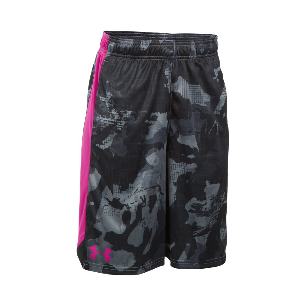 Under Armour Boys' Eliminator Printed Shorts, Gray Area/Tropic Pink, Youth X-Small