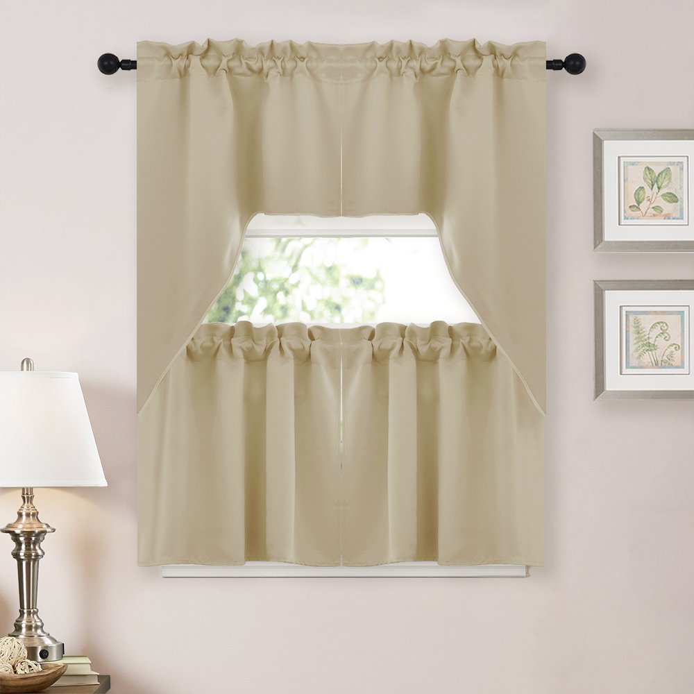 NICETOWN Half Window Room Darkening Curtains- Rod Pocket Tailored Tier /Valance /Cafe Curtains Warm Beige