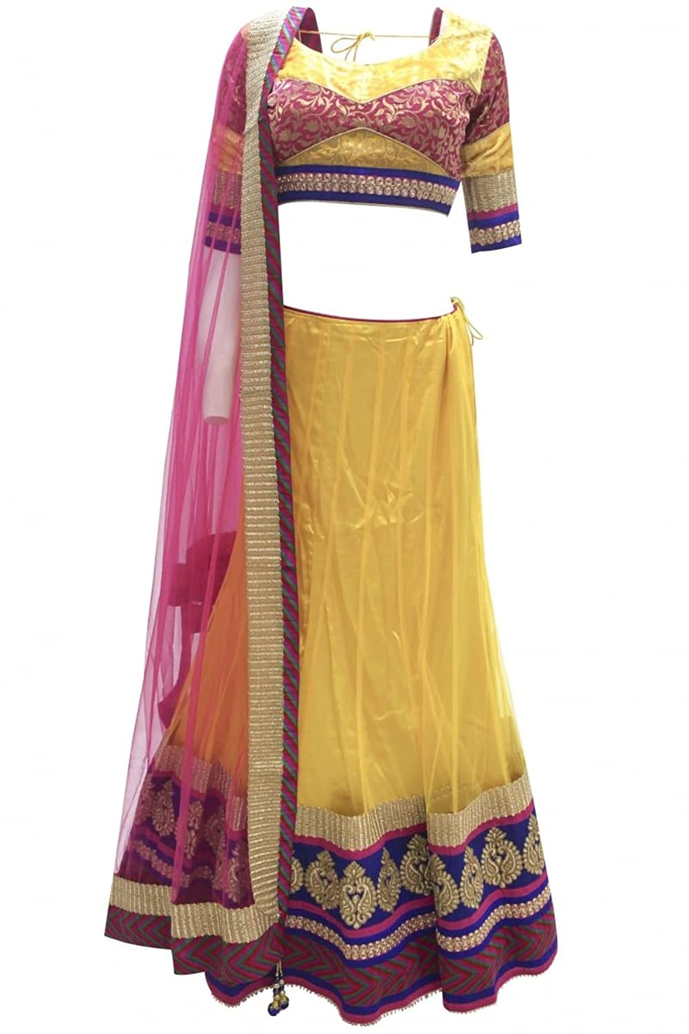 DCC2329 Yellow and Hot Pink Traditional Chaniya Choli Indian Bollywood Lengha Choli