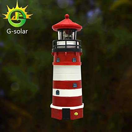solar red plastic lighthouse led with rotating lamp garden patio lawn outdoor decor gifts - Garden Lighthouse