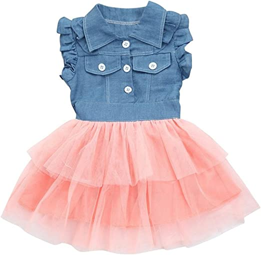 Toddler Kids Baby Girl Sleeveless Denim Leopard Tulle Dress Princess Outfits New