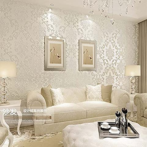 QIHANG European Style Luxury 3D Damask Pearl Powder Non-woven Wallpaper Roll Cream-white Color (Wallpaper Luxury)