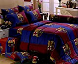 Barcelona Football Club Bedding In Bag Set (Twin Size, BC002) ; 1 Four Season Comforter with 3 pieces of Bed Fitted Sheet Set