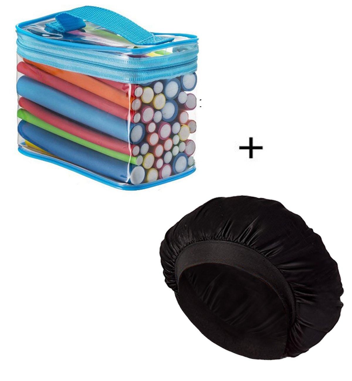 (2 In 1) 42 Packs Hair Rollers Flexible Curling Rods + Satin Bonnet Hat Sleeping Cap