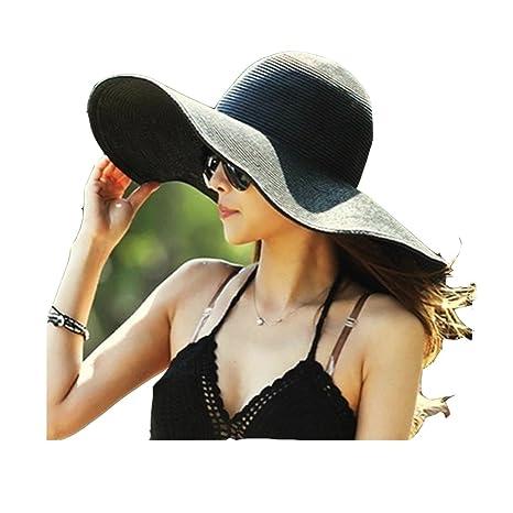 Hemore Sombrero de Playa con ala Ancha Plegable para Mujer Sombrero de Paja  de Verano en Piscina y Parque Negro  Amazon.es  Deportes y aire libre 9232004533d