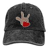 ASL American Sign Language I Love You - Embroidered Retro Denim Baseball Hat Trucker Hat Dad Hat Adjustable