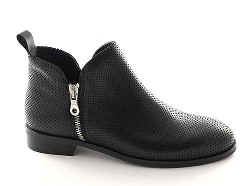 Locura Divina 68-14 Botines Negros de Cuero de Doble Cremallera Lateral de La Mujer 40: Amazon.es: Zapatos y complementos