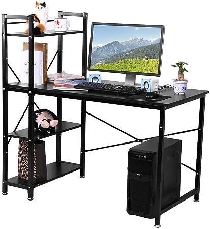 Lyrlody Bureau Avec Bibliotheque Table D Ordinateur Travail