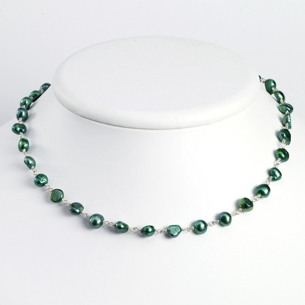 Mia Diamonds 925 Sterling Silver Solid Green Fw Cultured Pearl Necklace 16 16in x 7mm