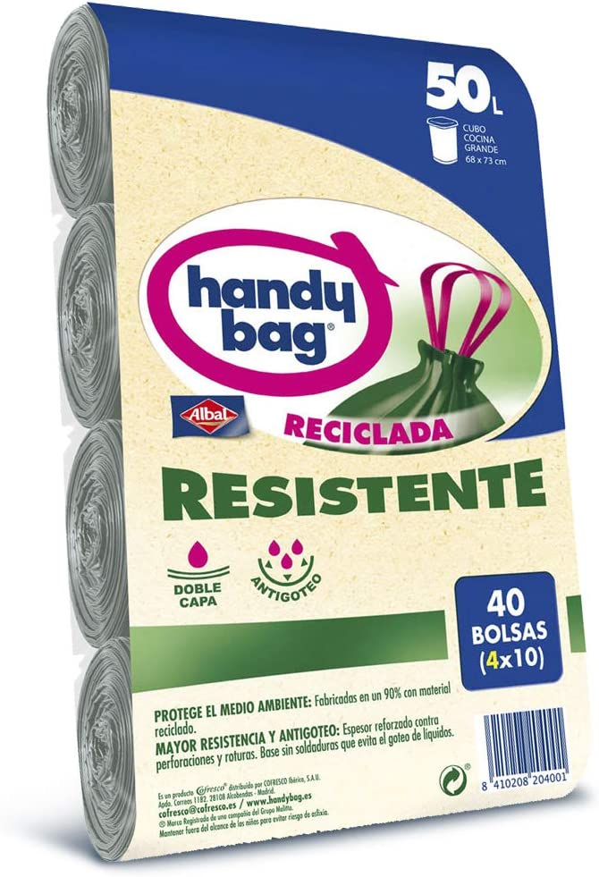 Handy Bag Basura 50L, 90% Reciclado, Extra Resistentes, 40 Bolsas, 50 litros, Plástico