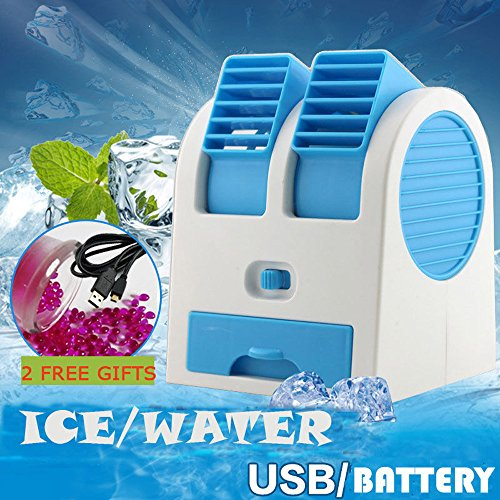 Double Sink Chest (Coohole Portable Mini USB Air Conditioner Cooler Fan Rechargeable For Outdoor Desktop, Blue)