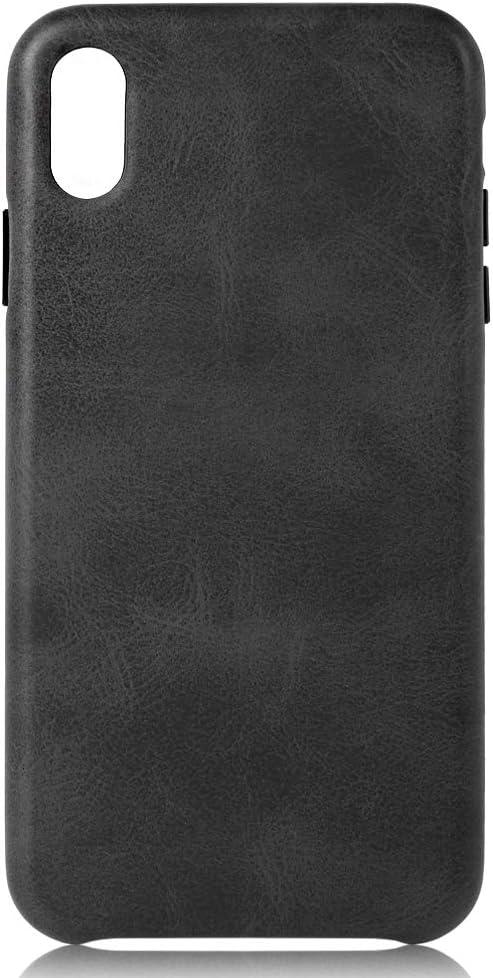 iPhone X Leather Case Exquisite Protective Case Premium Retro Premium PU Leather Back Cover Compatible with iPhone X (Black, iPhone X)