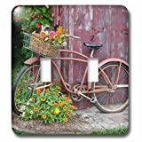 3dRose Danita Delimont - Garden - Old bicycle with flowers in basket, next to old outhouse garden shed. - Light Switch Covers - double toggle switch (lsp_251047_2)