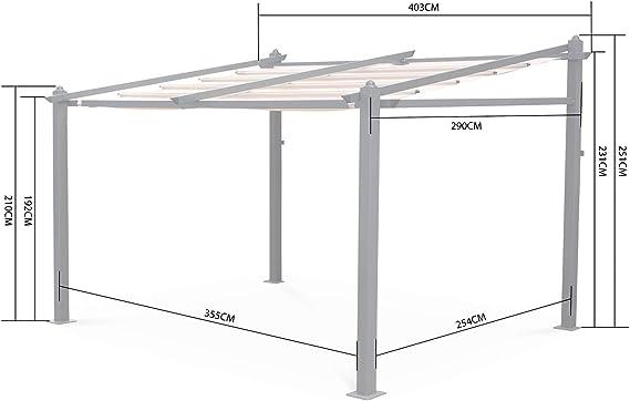 Alices Garden - Pergola de Pared, Aluminio, Ecru, 3x4m, Murum ...