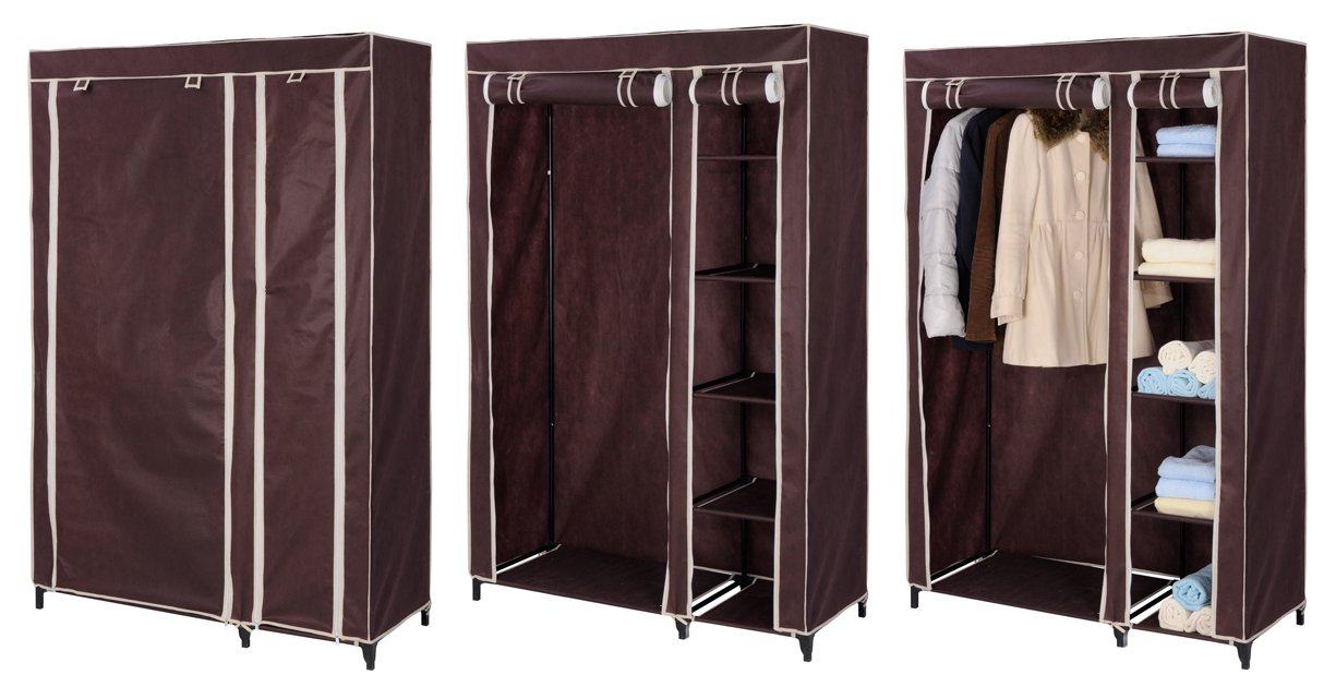 Portable Double Wardrobe Large Size Canvas Movable Brown Amazoncouk Kitchen Home