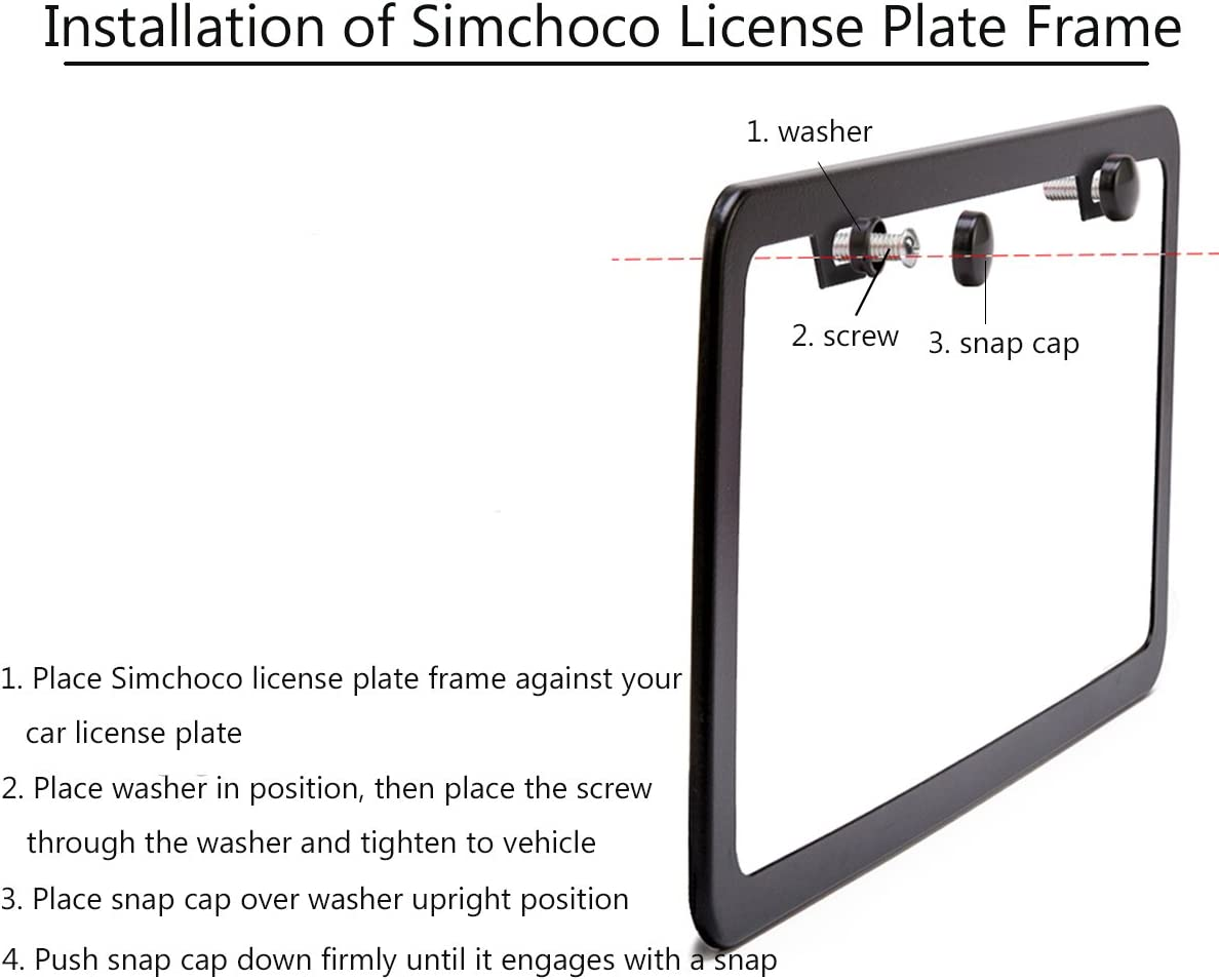 Simchoco License Plate Frame Pink License Plate Frame 2 Pcs 4 Holes Matte Aluminum Frame with Chrome Screw Caps for US Vehicles