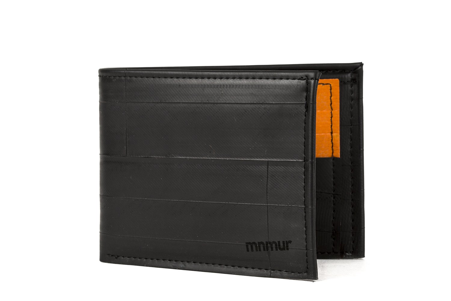 Classic bifold men's wallet with orange credit card holder // Made from recycled inner bicycle tubes // Small and pocket-size // Handmade in Italy